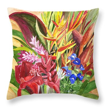 Throw Pillow featuring the painting Everywhere There Were Flowers by Eric Samuelson