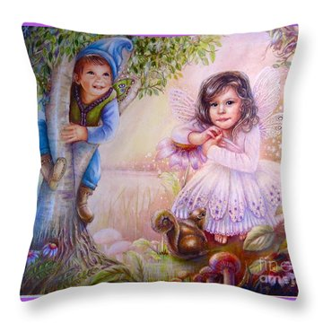 Evie And Luke Throw Pillow by Patricia Schneider Mitchell