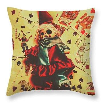 Evil Clown Doll On Playing Cards Throw Pillow
