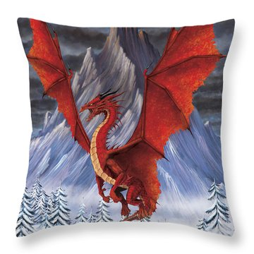Evil Red Dragon Throw Pillow by Stanley Morrison