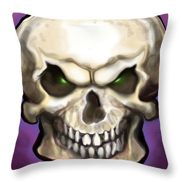 Evil Skull Throw Pillow by Kevin Middleton