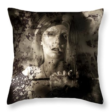 Evil Vampire Woman Looking Into Bloody Mirror Throw Pillow
