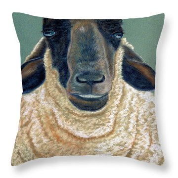 Throw Pillow featuring the pastel Ewe Move Me Baby by Jan Amiss
