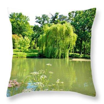 Exbury Garden Throw Pillow by Katy Mei