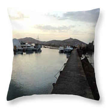 Throw Pillow featuring the photograph Excellent View Naoussa Paros Greece by Colette V Hera  Guggenheim
