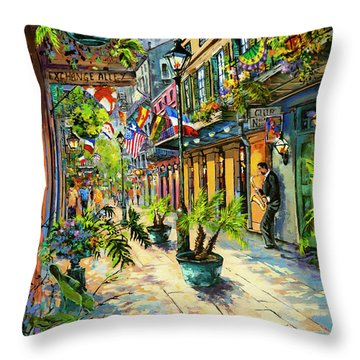 Exchange Alley Throw Pillow by Dianne Parks
