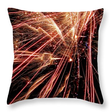 Throw Pillow featuring the photograph Exciting Fireworks #0734 by Barbara Tristan