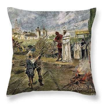 Execution Of Jan Hus, 1415 Throw Pillow by Granger
