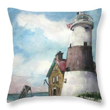 Throw Pillow featuring the painting Execution Rocks Lighthouse by Susan Herbst