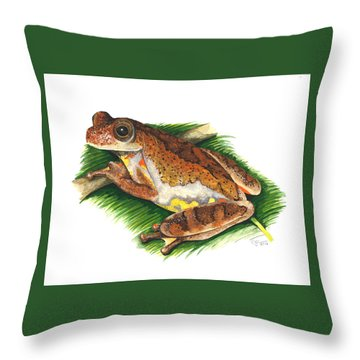 Executioner Treefrog Throw Pillow by Cindy Hitchcock