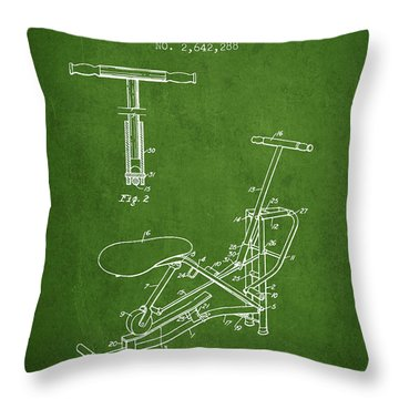 Exercise Machine Patent From 1953 - Green Throw Pillow
