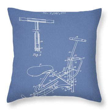 Exercise Machine Patent From 1953 - Light Blue Throw Pillow