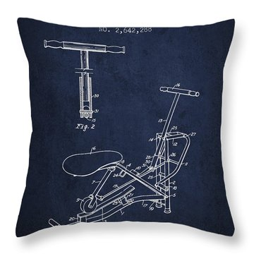 Exercise Machine Patent From 1953 - Navy Blue Throw Pillow