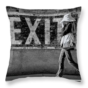Exit Bw Throw Pillow