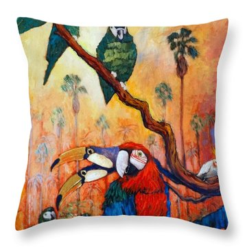Exotic Birds Of South America  Throw Pillow