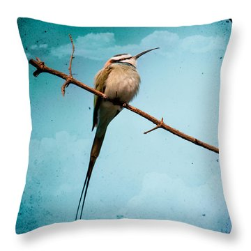 Exotic Birds - White Throated Bee Eater Throw Pillow