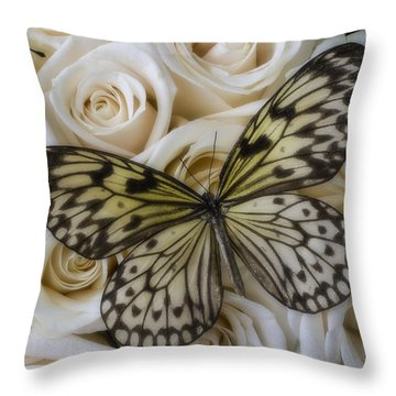Exotic Butterfly On White Roses Throw Pillow