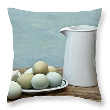 Exotic Colored Eggs With Pitcher Throw Pillow
