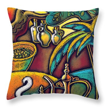 Throw Pillow featuring the painting Exotic East, Coffee And Olive Oil by Leon Zernitsky