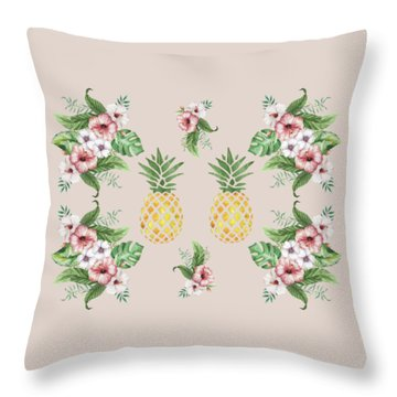 Throw Pillow featuring the painting Exotic Hawaiian Flowers And Pineapple by Georgeta Blanaru