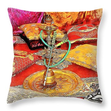 Exotic Oriental Hookah Pipe 2 Throw Pillow