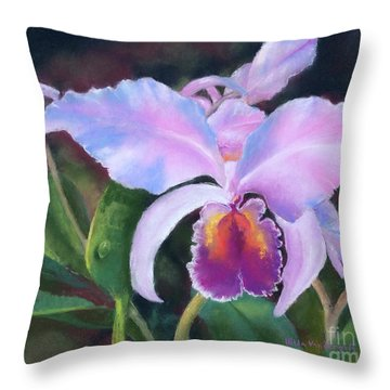 Exotic Pink Orchid Throw Pillow