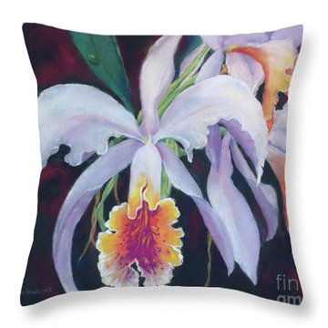Exotic White Orchid Throw Pillow