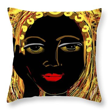 Exotic Woman Throw Pillow by Elaine Lanoue
