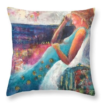 Expecting Throw Pillow by Gail Butters Cohen