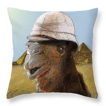 Expeditionary Camel At Giza Throw Pillow