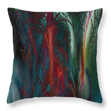 Experimental Tree Throw Pillow by Linda Sannuti