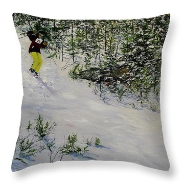 Throw Pillow featuring the painting Expert Skier by Ken Ahlering