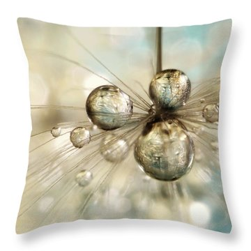 Exploding Dandy Drops Throw Pillow by Sharon Johnstone