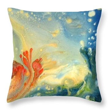 Throw Pillow featuring the painting Exploration 1 by Mary Kay Holladay