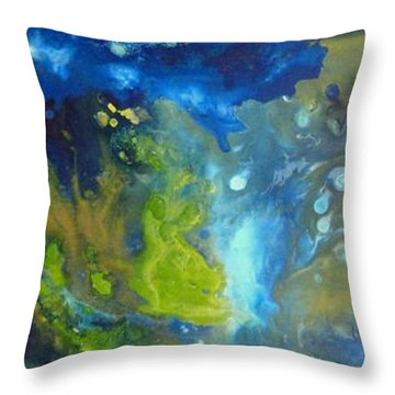 Throw Pillow featuring the painting Exploration 2 by Mary Kay Holladay