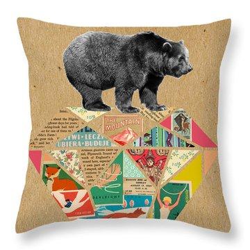 Explore Bear  Throw Pillow by Claudia Schoen