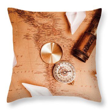 Explorer Desk With Compass, Map And Spyglass Throw Pillow