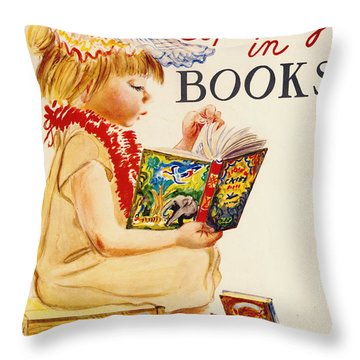 Throw Pillow featuring the photograph Exploring Books 1961 by Padre Art