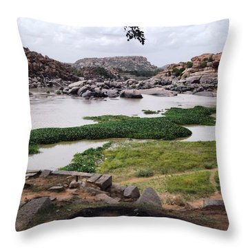 Hiking In Hampi Throw Pillow