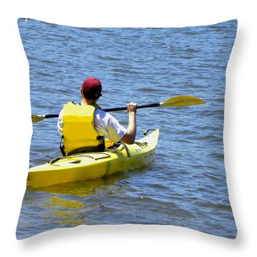 Throw Pillow featuring the photograph Exploring In A Kayak by Sandi OReilly
