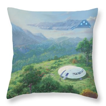 Exploring New Landscape Spaceship Throw Pillow
