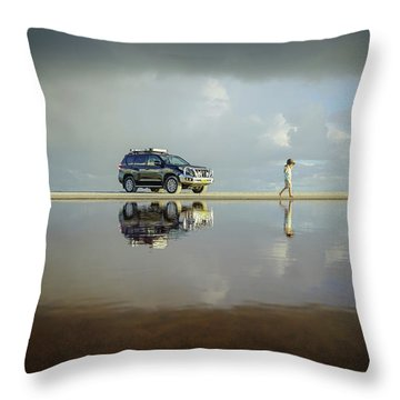 Exploring The Beach On A Rainy Day Throw Pillow