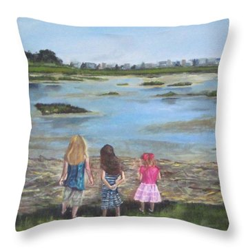 Exploring The Marshes Throw Pillow