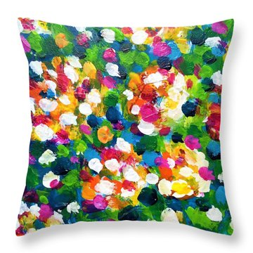 Throw Pillow featuring the painting Explosion Of Colors by Cristina Stefan
