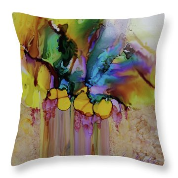 Throw Pillow featuring the painting Explosion Of Petals by Joanne Smoley