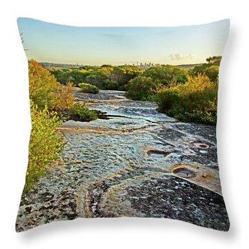 Throw Pillow featuring the photograph Exposed Sandstone In North Head by Miroslava Jurcik