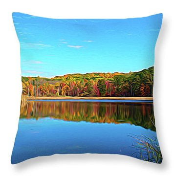 Throw Pillow featuring the photograph Expressionalism Autumn Pond by Aimee L Maher Photography and Art Visit ALMGallerydotcom