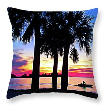 Throw Pillow featuring the photograph Expressionalism Beach Sunset by Aimee L Maher Photography and Art Visit ALMGallerydotcom