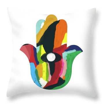 Throw Pillow featuring the mixed media Expressionist Hamsa- Art By Linda Woods by Linda Woods