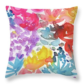 Expressionist Watercolor Garden- Art By Linda Woods Throw Pillow